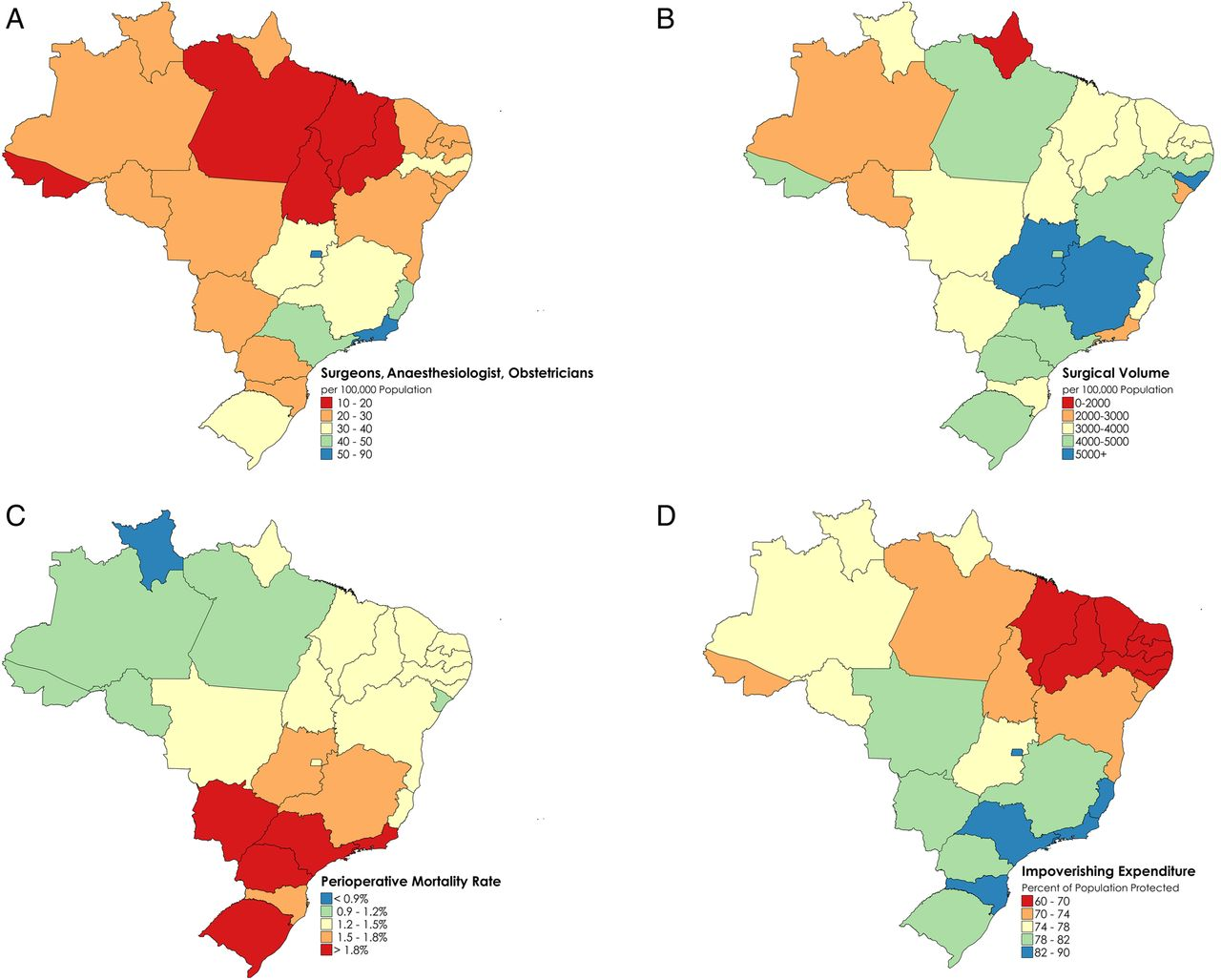 Assessing the Brazilian surgical system with six surgical