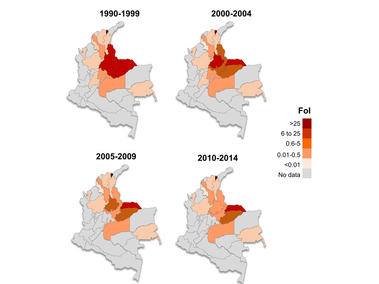 Modelling Historical Changes In The Forceofinfection Of Chagas - Departments of colombia 2004